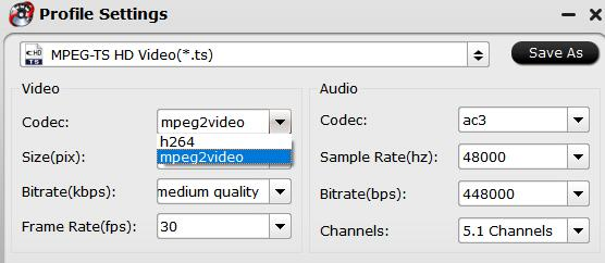 choose mpeg2 codec