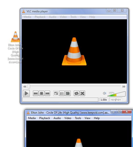 Drag file VLC