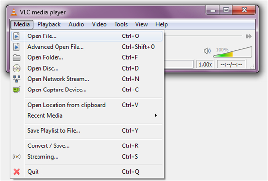 Open file VLC